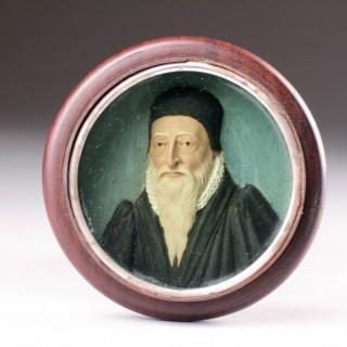English Renaissance Polychromed Wax Portrait of John Dee (1527 - 1609)