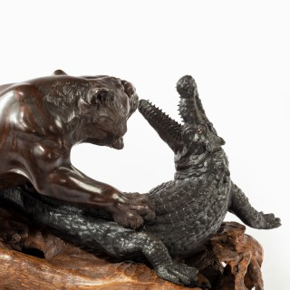 Meiji period bronze of a tiger and an alligator by Genryusai Seiya