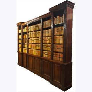 William IV Reverse Breakfront Mahogany Open Bookcase