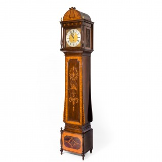 An unusual flame mahogany long-case clock attributed to Maples