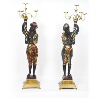 Antique Pair of Carved Wood Venetian Blackamoor Candelabras 19th C