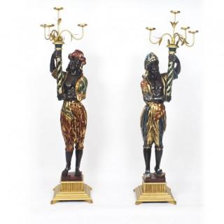 Antique Pair of Carved Wood Venetian Blackamoor Candelabras 19th C