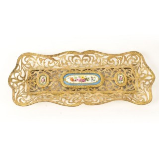 Antique French Ormolu & Sevres Porcelain Pen Tray 19th C