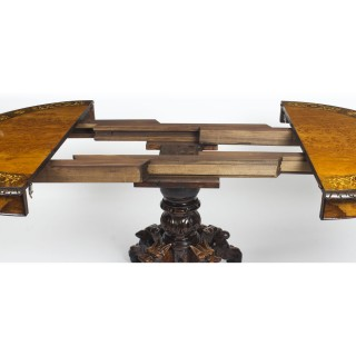 Antique Pollard Oak & Marquetry Oval Victorian Dining Table 19th C