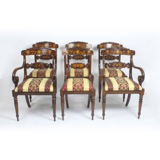 Antique Pollard Oak Marquetry Oval Victorian Dining Table 19th C & 6 Chairs