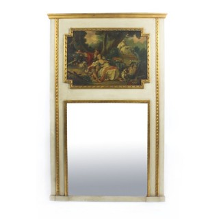 Antique French Painted & Parcel Gilt Trumeau Mirror Circa 19th C