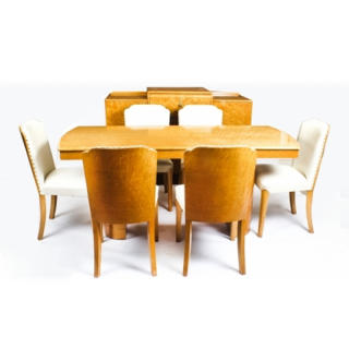 Antique Art Deco Birdseye Maple Dining Suite Circa 1930