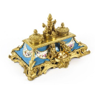 Antique French Ormolu & Sevres Porcelain Standish Inkstand 19th C