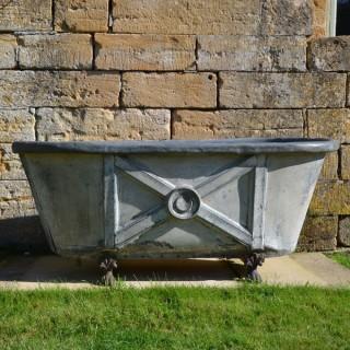A 19th century painted zinc bath tub