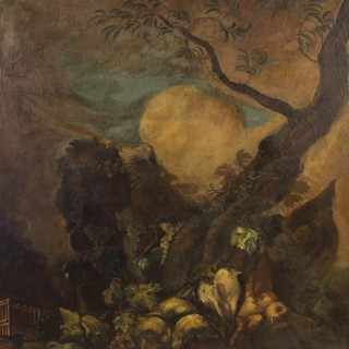 Spanish painting oil on canvas landscape with bushmeat and fruit