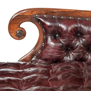 A late Regency rosewood chaise longue