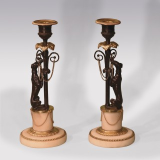 Early 19th Century Bronze & Ormolu Greyhound Candlesticks