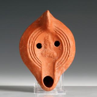 Roman Redware Lamp with Serapis