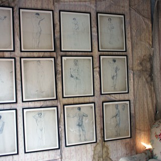 A Group of Twelve Framed Early 20thC Nude Pencil Studies by Violet Clinton c.1920