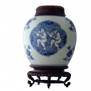Kangxi Blue and White Lidded Jar