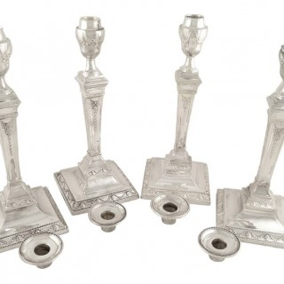 Set of 4 Antique Victorian Sterling Silver 12″ Candlesticks 1883