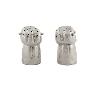 Pair of Antique Victorian Sterling Silver Champagne Cork Peppers 1879