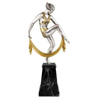 Art Deco silvered bronze sculpture of scarf dancer