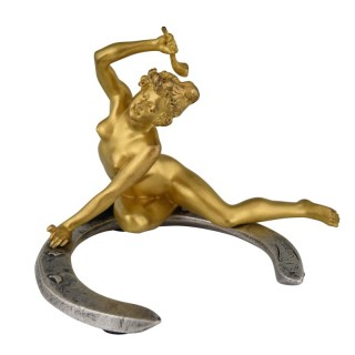 Art Nouveau bronze nude on a horseshoe