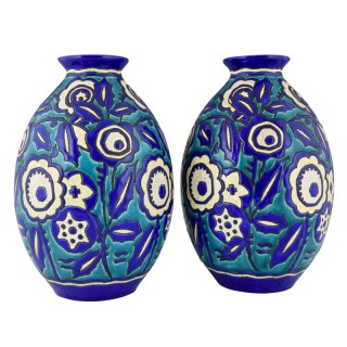 Pair of Art Deco ceramic craquelé vases with flowers