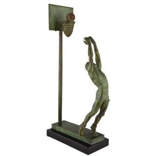 Art Deco bronze sculpture basketball player reverse dunk