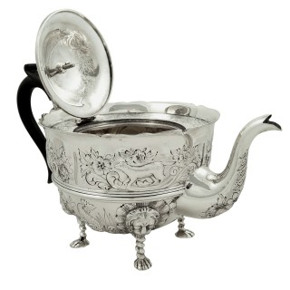 Antique Sterling Silver Teapot with Animal Decoration 1901