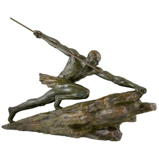 Art Deco bronze sculpture man with spear