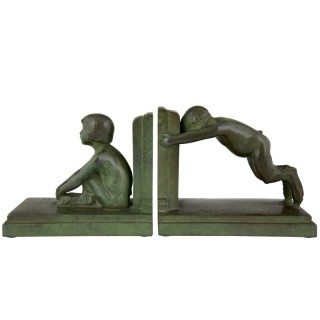 Art Deco Bronze Bookends Boy And Girl Satyr