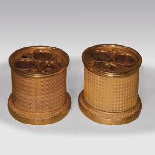 Pair Of 19th Century Bronze & Ormolu Cupids Encrier