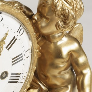 An Impressive Gilt Bronze Mantle Clock in the Louis XVI Manner By Maison Marquis of Paris