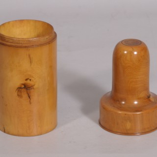 Antique Treen 19th Century Boxwood Perfume Bottle Case