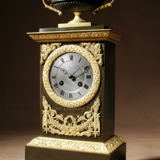 Le Grand Tour French Gilded Patinated Bronze Mantel Clock / Pendule Charles X