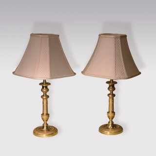 Pair of 19th Century Ormolu Candlesticks Lamps