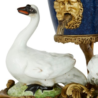Meissen style porcelain and gilt bronze table fountain by Samson