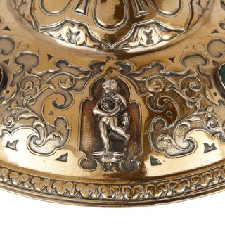 Two Elkington silver plate lidded vessels with semi-precious stone inlays