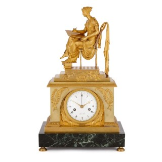 Grecian style Napoleonic gilt bronze and marble mantel clock