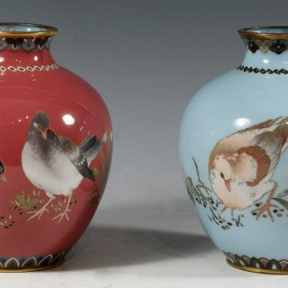 DECORATIVE HARLEQUIN PAIR OF JAPANESE CLOISONNE ENAMEL VASES