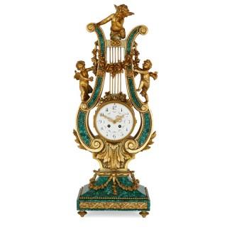 Gilt bronze and malachite harp shaped mantel clock