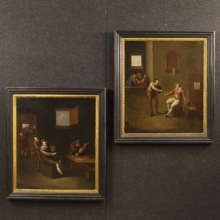 17th Century Oil On Canvas Flemish Interior Scenes Paintings, 1690