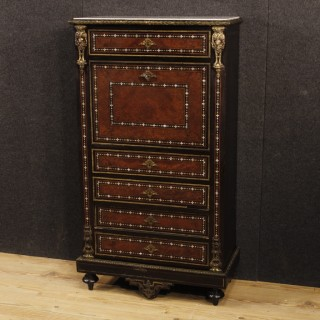 19th Century Inlaid Wood Marble Top French Secrétaire, 1880