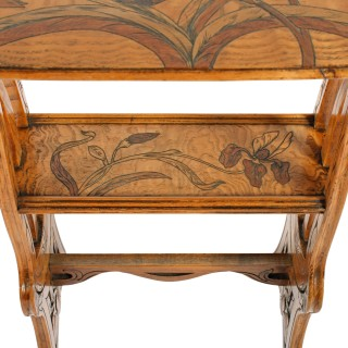 Marquetry Inlaid Ash Table Attributed to Émile Gallé