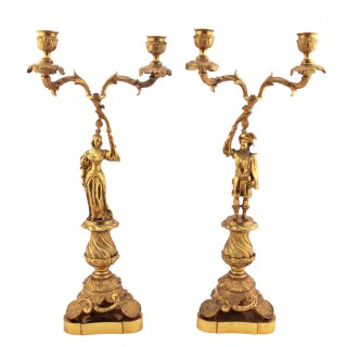 Pair of Ormolu Two Branch Candelabra