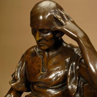 Bronze Sculpture L' Etude Signed Henri Levasseur (1853-1934)