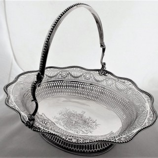 Quality George III silver swing handled basket London 1774 William Plummer