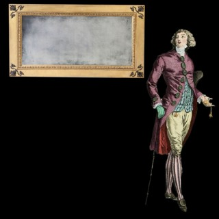 REGENCY PARCEL GILT MECHANICAL PATENT OVERMANTEL MIRROR – 48 INCHES WIDE
