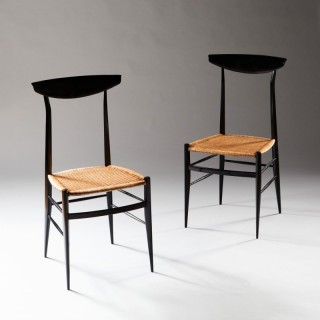 A PAIR OF ITALIAN EBONISED SIDE CHAIRS BY SANGUINETTI