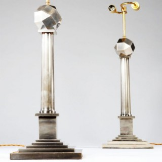 A PAIR OF SILVER NICKEL COLUMN LAMPS