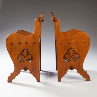 A PAIR OF OAK ARTS AND CRAFTS STOOLS