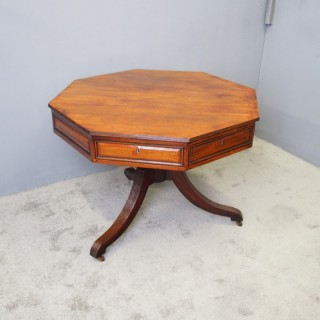 Regency Mahogany Octagonal Rent Table or Drum Table