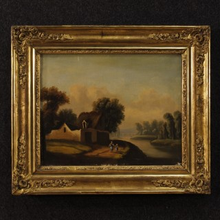 Antique French painting landscape with characters from 19th century
